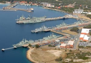 Aerial photograph of HMAS Stirling and Fleet Base West at Garden Island, Western Australia.